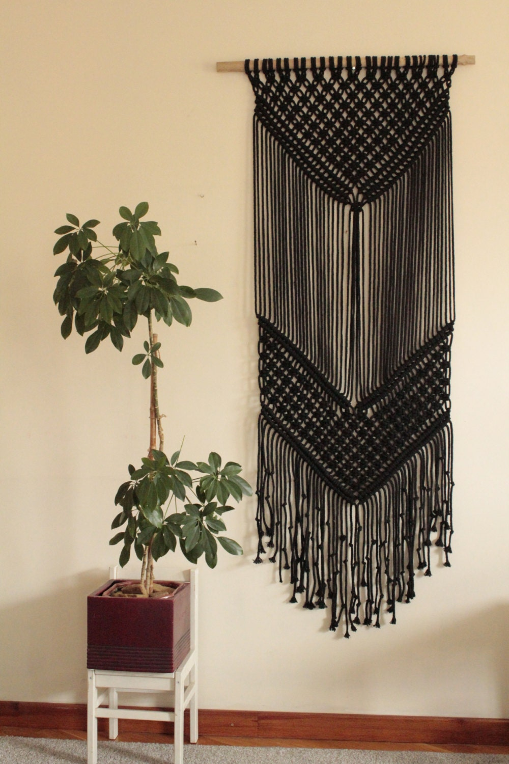macrame large black macrame wall hanging large macrame by 3497
