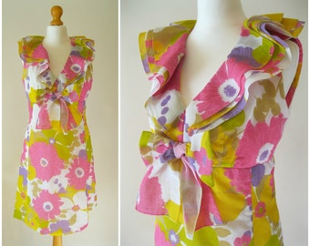Bright 60s Flower Power Psychadelic Dress Vintage Floral Ruffle Bow Mod gogo Size S UK 10