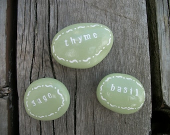 Herb Garden Markers, Garden Decor, Garden Art, Garden Rocks, Herb Markers, Herb Garden Signs, Herb Garden Rocks, Painted Rocks