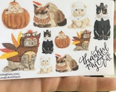 Thanksgiving Cats Stickers