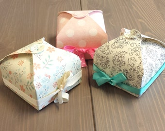 Holiday Gift Boxes set of 12, Favor Boxes, Elegant pattern print Box for Wedding Favors, Baby Showers, Birthday