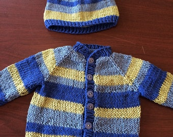 6 month cotton Handknit sweater and hat