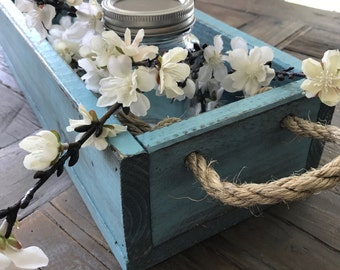 Rustic Wood Centerpiece with Rope Handles (with or without lettering)