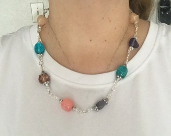 Multicolored beaded necklace.