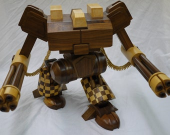 Handmade Wooden Model Battle Tech Mech Warrior