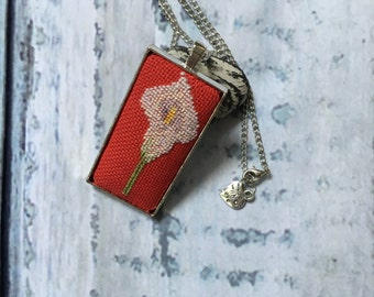 Hand embroidered necklace/Cross stitch Necklace/Petite Point/Calla