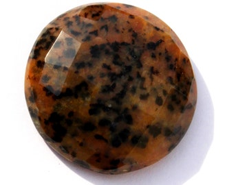 25x25 mm Natural Cheetah Jasper Gemstone Faceted Round Cabochon / Natural Gemstone Cabochon / Semiprecious Gemstone Cabochon