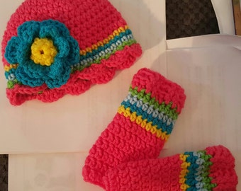 crochet Hat and Leg Warmers kids and infants .....All sizes and colors available