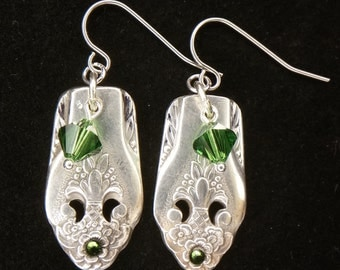 Antique Spoon Earrings...Swarovski Crystals...Vintage Silverware