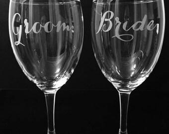 Bride and groom wine glass set