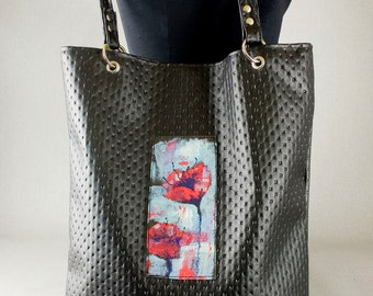 Hand-painted bag / artificial leather / unique