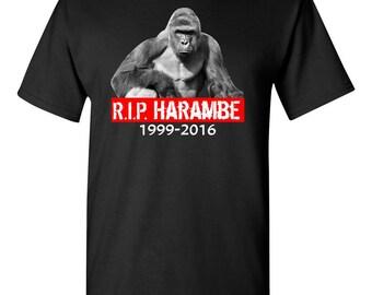 RIP Harambe 1999-2016 Gorilla Rest in Peace Zoo Shooting Justice Meme Cincinnati Legend T-Shirt