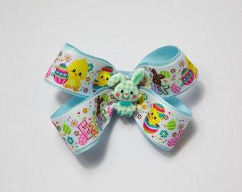 Blue Easter hair bow