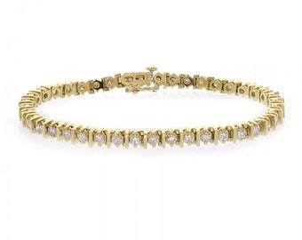 3.50 Carat Diamond Tennis 14K Yellow Gold Bracelet