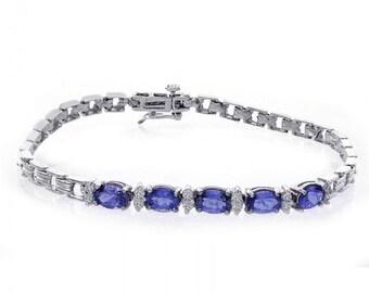 3.15 Carat Oval Shape Tanzanite & Round Cut Diamond Bracelet 14K White Gold