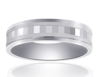 6.0mm 14K White Gold Mens Band With A Textured Center