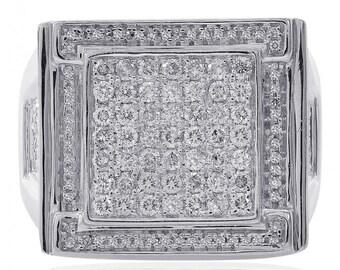 1.75 Carat Pave Mens Round Cut Diamond Ring 14K White Gold