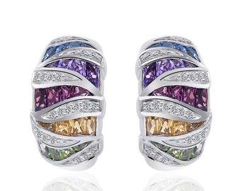 2.00 Carat Multi-Gemstone Diamond J-Hoop Earrings 10K White Gold