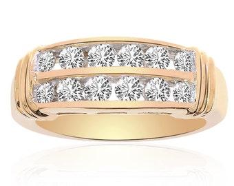 1.00 Carat Round Cut Brilliant Diamond Wedding Band 14K Yellow Gold
