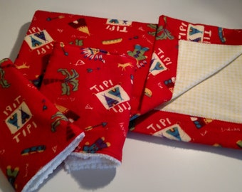 Baby Blanket, Baby Boy, Burp Cloths Indians and Teepees Flannel and Cotton Baby Blanket with 2 matching burp cloths!