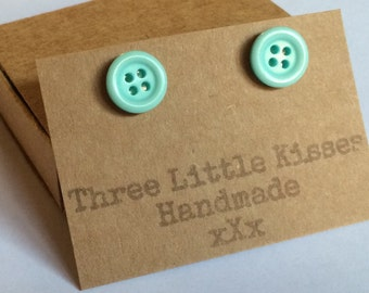 Pastel Blue Button Earrings | Handmade Jewellery | Gift for Her