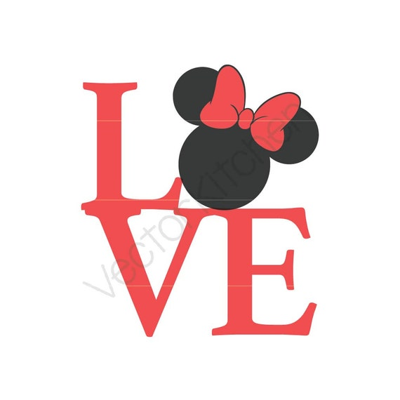 Love Minnie Inspired Silhouette Cutting Template Svg Eps