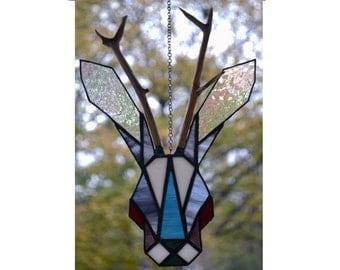 Jackalope, Blue, Stained Glass, Suncatcher, Antlers, Tiffany, Global Folk, Artistic Glass, Glass panel, Whiskey lover, Hanging Decoration