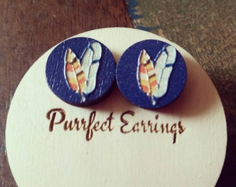 Blue Wooden Leaf Earrings