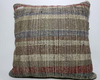 24x24 ethnic pillow handwoven kilim pillow bed pillow cushion cover boho pillow natural pillow throw pillow striped kilim pillow SP6060-543