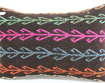 16x24 Black Pillow Turkish kilim rug embroidered pillow kelim kissen pillow boho pillow Multicolour pillow lumbar kilim pillow SP4060-239