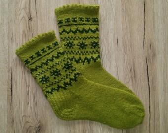 Unisex,wool,dark green,green handmade socks.