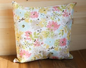 Square Bright Spring Flowers Throw Pillow