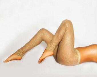 Bohemian Beige Lace Leggings/ Sexy Leggings / Lace Tights / Sheer Leggings / Festival Attire / See-through Pants / Yoga Apparel / Yoga Pants
