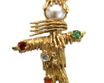Vintage 60's 14kt Gold & Gemstone Articulated Figural Scarecrow Brooch Pin