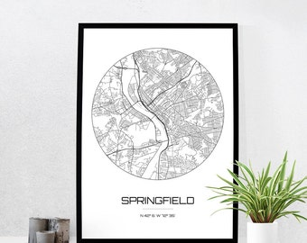 Springfield Map Print - City Map Art of Springfield Massachusetts Poster - Coordinates Wall Art Gift - Travel Map - Office Home Decor