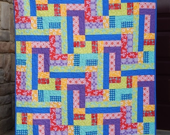 Scrappy Patches Bright and Cheery Modern Lap Quilt