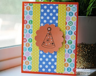 Polka Dotted Party Hat - Happy Birthday Card - Blank Note Card