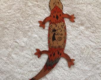 Metal Gecko Wall Decor- Custom Made- Hand Painted