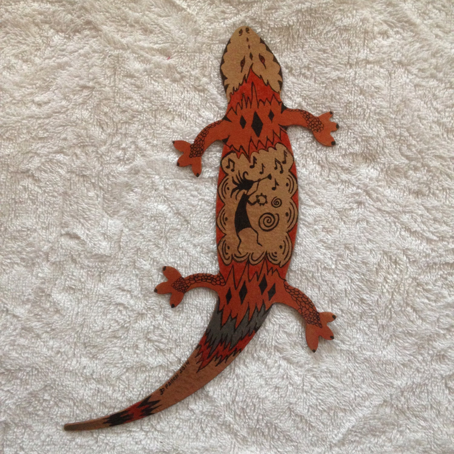 Metal gecko wall decor custom made hand painted for Gecko wall art