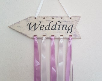 Wedding sign, ivory and lavender, Provence style, handmade and unique