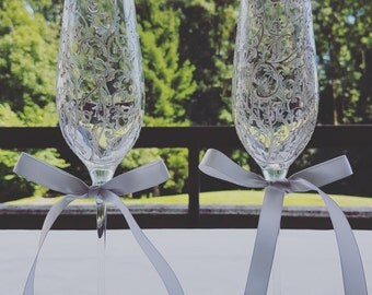 Pair of hand painted wedding glasses, white and silver