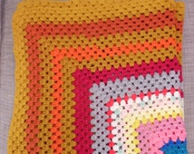 "Colorful Vintage Handmade Afghan Square Blanket 47"" x 47"" Mustard Yellow Fall Autumn"