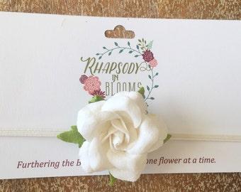 White Rose Headband size 3-6 months