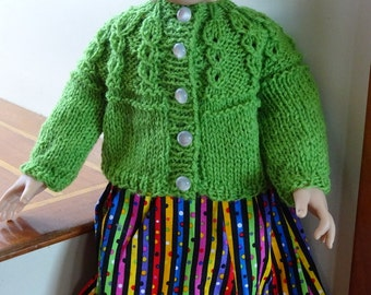 AGD Peapod Green Cardigan Sweater with Multi-colored Sundress