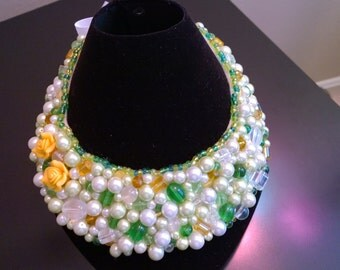 Bead Embroidered necklace/ collar