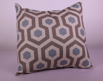 Grey and baby blue beehive cushion cover (40cm x 40cm)
