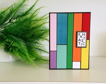 Fantastic Rainbow Card, All Occasion Card, Blank Card, Patchwork Card, Card for Teens, Fantastic Rainbow Colours on Black, ready to ship