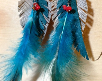 vintage leather + feather, tourquois and red