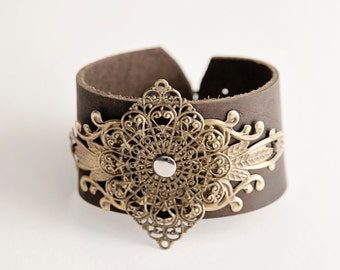 Leather Cuff Bracelet with Filigree Metal Accent