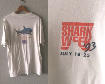 1993 Shark Week Discovery Channel 1990's Vintage Shark Graphic T Shirt by Hanes